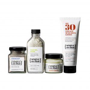 simple as that exfoliant matcha mask moisturiser and sunscreen